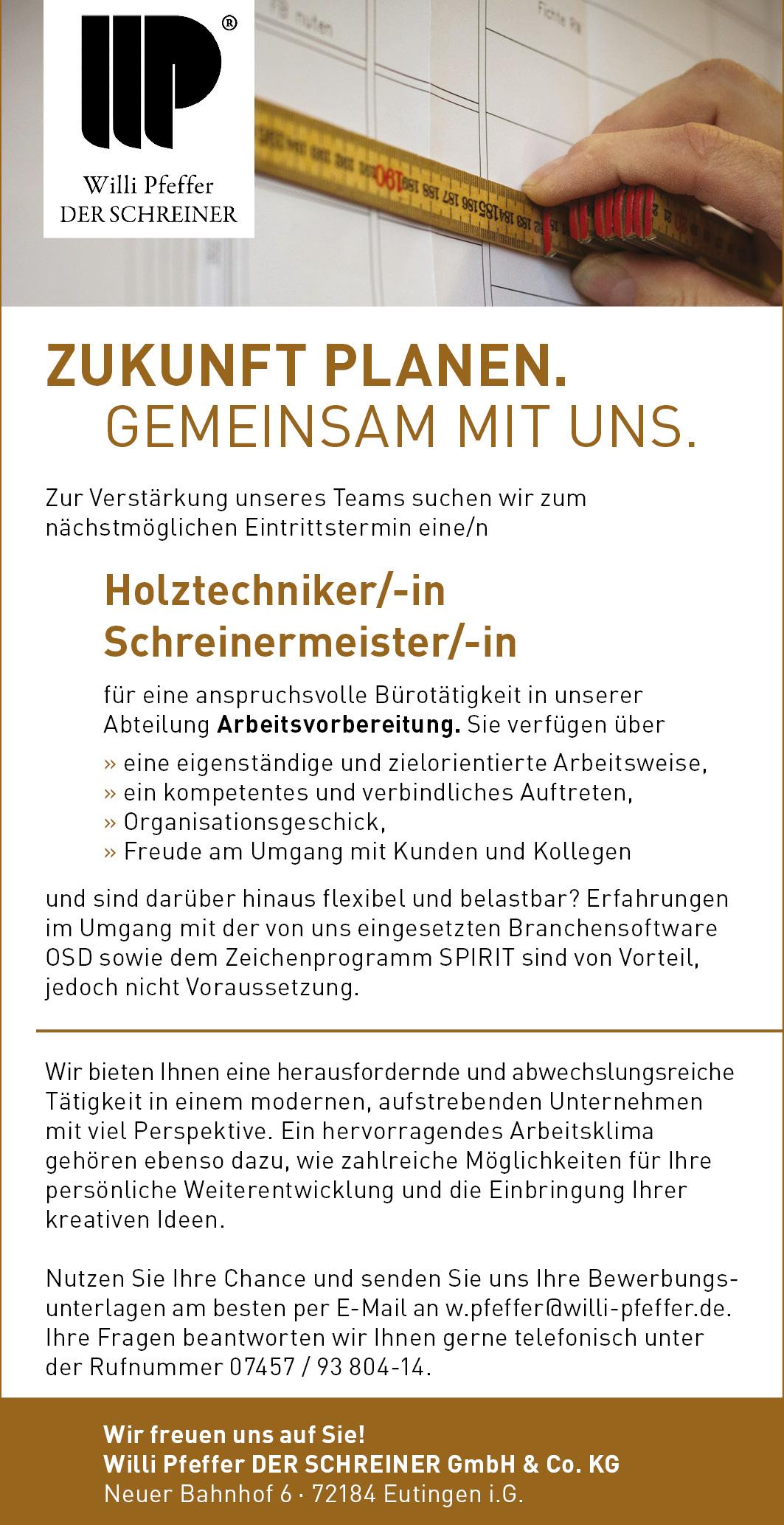 Stellenanzeige Willi Pfeffer - Holztechniker-in